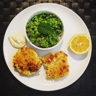 Fish Cakes with Mushy Peas - The Beginner's Cookbook Recipe